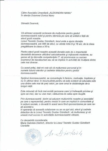 Scrisoare de multumire de la Liceul Gustav Gundich-Cisnadie